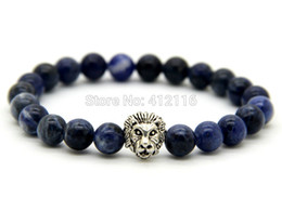 natural beaded linked chain Promo Codes - 2015 New Design Wholesale 8mm Natural Blue Veins Stone Beads Silver Lion Head Bracelets Gifts for men and women High Grade Jewelry