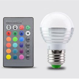 Wholesale Colorful Color Change Led - Super Discount 5W RGB Lights Change Color AC85V-265V E27 E14 Holiday Party Mood Lighting LED Spotlights 16 Colors + Infrared Remote Control
