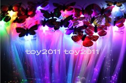 Wholesale Old Fashioned Toys - Fashion New 2017 Toys Girls Colorful Butterflies Led Glow Fiber Braid Headdress rave lights birthday party halloween decorations