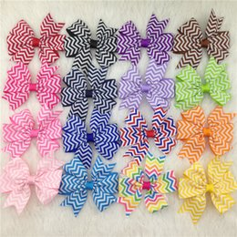 Wholesale Chevron Accessories - 32pcs lot 3'' Baby Girls' Printed Cartoon Hairbows WITH Clip, Pinwheel chevron Hair Bows Clips,Hair Accessories Hair Pins free shipping