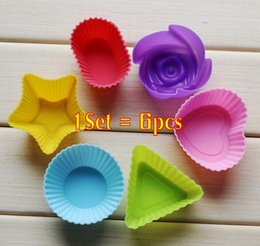 Wholesale Tin Moulds - Rose star heart flower Silicone Cake Muffin Chocolate Cupcake Case Tin Liner Baking Cup Mold Mould 1lot=6pcs