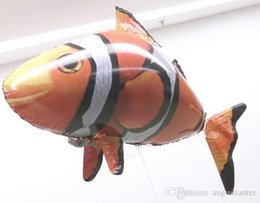 Wholesale Retail Ready - Retail Flying Fish Remote Control Toys Air Swimmer Inflatable Plaything Clownfish Big Shark Toy Christmas Children Gifts Air Elves 2016