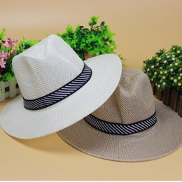 Wholesale Straw Hats Male - 2017 New Summer Adult Jazz Hat Male Beach Sun Hat Fedoras for Man and Women Sunscreen Straw Hat