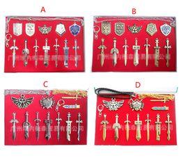 Wholesale Legend Zelda Link - 4 Style cartoon The Legend of Zelda Weapon Sets Link Swords 6 to 8 cm Metal key Ring Necklace pendant Xmas Gift B001