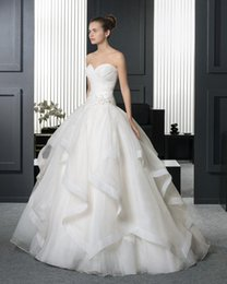 Wholesale Elegant Wedding Dress Train Cathedral - 2015 New Coming Elegant Princess Ball Gown Wedding Dresses Organza Layered W1426 Fashion Long Bridal Gowns Summer Hot Sale Perfect W1427 Top