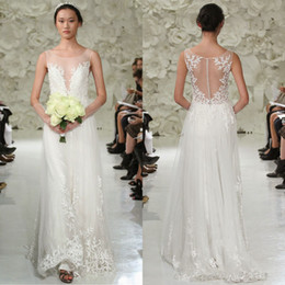 Wholesale Watters Wedding Dress - 2017 Watters A Line Leaf Applique Wedding Dresses Sheer Plunging Neck Covered Button Back Sweep Train Tulle Bridal Gown