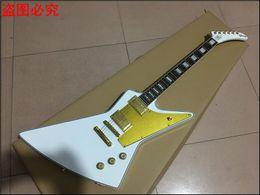 Wholesale Guitarra Custom Shop - new arrival Custom shop White Explorer shape Electric Guitar , gold color hardware, hot selling guitarra Real photo showing guitarra