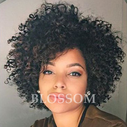 cheap kinky curly afro wigs Promo Codes - Cheap Human Hair Wigs Afro Kinky Curly Brazilian Hair Natural Black Human Hair None Lace Glueless Wigs For Black Women Wigs