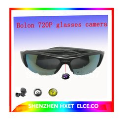Wholesale Spy Audio Video Glasses - 32GB FULL HD 1080P hidden camera Mini DVR spy sunglasses camera Audio Video Recorder Bolon Style Sunglass Black Gold Lens Glass Camera