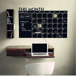 Wholesale 3d Calendar - 3 Size DIY Monthly chalkboard calendar Vinyl Wall Decal Removable Planner mural wallpaper vinyl Wall Stickers free shipping