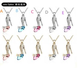 Wholesale American Shoe Wholesalers - 2015 cinderella crystal necklaces dreamed cindy crystal shoes pendant necklace for women Jewelry pendant with chain D032401#