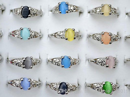 Wholesale Cat Eye Rings Wholesale - Colourful Natural Cat Eye Gemstone Stone Silver Tone Women's Rings R0029 New Wholeslae Jewelry 50pcs lot