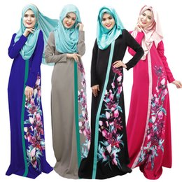 Mujeres islámicas kaftan online-Vestido largo marroquí de Kaftan de las mujeres de Dubai Vestido largo árabe de las mujeres de Abaya Jilbab Vestidos de la ropa árabe islámica de Kimono Baju Vestido musulmán de Kaftans del musulmán