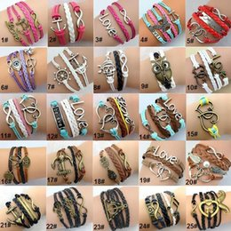 Wholesale Leather Stainless Steel Clasps - Hot Sale Leather Bracelets Special Offer Fashion Infinity Owl Anchor Love Bracelet For Women Girl Jewelry Wholesale Free Shipping 0002DR
