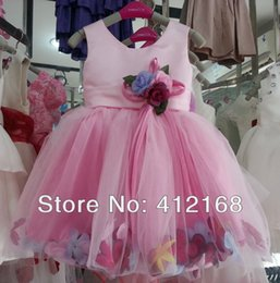 Wholesale Red Ribbon Costumes - 2017 High quality Cute Pink&watermelon Red New Arrival Bridemaid Flower Girl Dress Birthday Ball Party Prom Kids Little Costume Sa