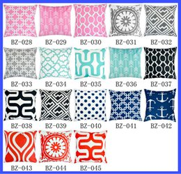 Wholesale Cotton Yarn Patterns - Chevron Flower Cotton Linen Square Decorative Cushion Cover Pillowcase of Drawing Room 45*45cm 40 pattern Throw Pillow r Cushion Cover