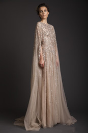 Wholesale Tulle Bridal Capes - vestidos 2016 New Arrival Sexy Krikor Jabotian Wedding Dresses Arabic Illusion Sequins Beading Sweep Train With Cape Formal Bridal Gowns