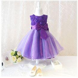 Wholesale Kids Layered Dresses - EMS freeship girls bow dress New Kids Girls Toddler Chiffon 3D Flower Tutu Layered Princess Party dress