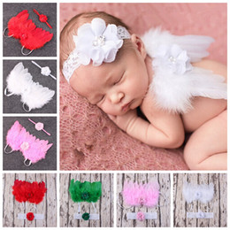 Wholesale Newborn Wings - 10SET Angel Wings Feather Wings Baby Girl Flower Lace Headband Photo Shoot Hair Accessories For Newborns Head Band costume Photo Prop YM6119