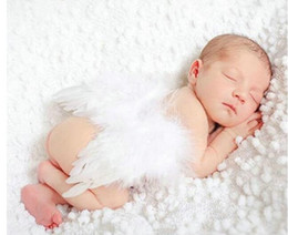 Wholesale Newborn Wings - New Kids Newborn Baby Infant Fancy Party Fairy Feather Angel Wings Costume