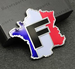 Wholesale Renault France - Car Styling 3D Aluminum France Map National Flag Car Sticker Decal For Citroen Peugeot Renault Venturi Bugatti Amilcar Heuliez