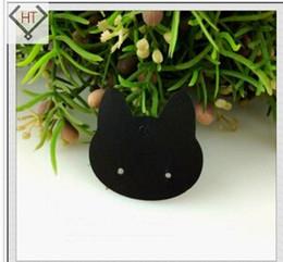 cajas de regalo de satén al por mayor Rebajas 200pcs 3.7 * 3.7cm negro pendiente de la joyería tarjetas PVC encantador gato diseño personalizado pendiente tarjetas envío gratis