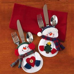 Wholesale F Pouches - Christmas Decoration Snowman Santa Claus Tableware Fork Knife Holder Bag Dinner Table Decorations Fork Pocket Pouch 1Set(2PCs)