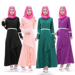 Wholesale Pink Lotus Clothing - Cheap 2016 new Dubai Robe female Muslim dress lotus leaf pendulum long-sleeved robe Muslim ethnic Malay Muslim women's clothes maxi dresses