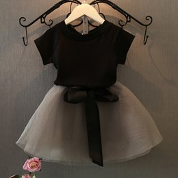 Wholesale Wholesale Children Clothing For Retail - Wholesale- Cotton shirt + yarn skirt for girl clothes with bow clothing set children clothes kids girl summer set for baby girl retail