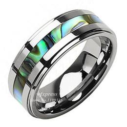 Wholesale Tungsten Abalone Inlay Ring - Wholesale-8mm Tungsten Stunning jade & Abalone Stripe Inlaid Wedding Band Ring Men Free Shipping