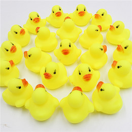 Wholesale Sound Inflatables - 2017 New Hot Little Yellow Duck Baby Bathroom Water Toy Bath Toys Infant Sound Rattle Duck DHL Free Shipping