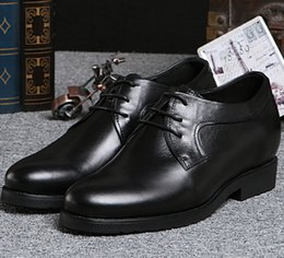 Wholesale Taller Wedding Dress - Wholesale-Height Increasing Shoes black  brown business shoes oxfords mens dress shoes genuine leather wedding shoes grow taller 5CM