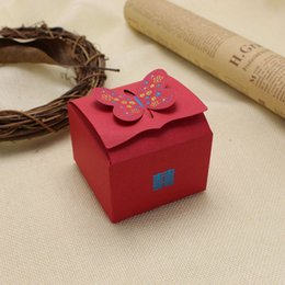 Wholesale Order Wholesale Paper Box - Butterfly wed favor box Chinese traditional red paper candy boxes 2 designs minimize quantity 100pc mix order available.