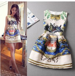Wholesale Sexy Hot China - FG1509 Hot sale High Quality 2015 Summer Style Vintage printing for women party Sexy Club dresses china beach bodycon dress femaleC1157