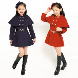 Wholesale Dust Coat Baby - Children's clothing han edition girls in the spring and autumn style children long dust coat baby princess dress fashion girls red dress