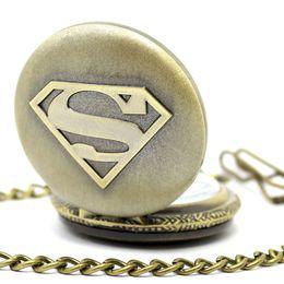 Wholesale Superman Quartz Watches - Wholesale 600pcs lot black classic superman watch vintage pocket watch necklace Men Women antique models Tuo table watch PW032
