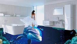 papel de parede de madeira falso Desconto banheiro do revestimento do vinil do pvc banheiro marinho subaquático do revestimento do vinil do assoalho de telha do golfinho do mundo 3D