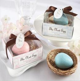 Stili personalizzati dell'uovo dell'uccello Mini sapone fatto a mano con la scatola di regalo per il regalo di San Valentino di favore della festa nuziale di favore del bambino Trasporto libero da piante blu chiaro fornitori
