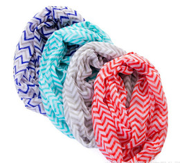 Wholesale Voile Blue - NEW fashion Chevron Wave Print Scarf Circle Loop Cowl Infinity Scarves Ladies Scarves Voile Multi color printing woven scarf