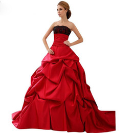 Wholesale Modest Taffeta Wedding Dresses - 2016 Stunning Red And Black Wedding Gowns Modest Strapless Plus Size Taffeta Wedding Dress Sexy Backless Lace Up Red Bridal Ball Gowns Sale