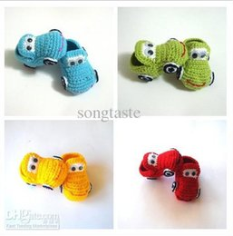 Wholesale Boys Crochet Sandals - Baby crochet shoes baby boys 4 colors cars booties infant handmade first walker shoes kids knit sandals childrengift