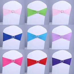Wholesale Wedding Sash Buckles - 20pcs Free Shipping Spandex Lycra Chair Sashes 14 Colors Elastic Chair Bands With Buckle for Wedding Home Banquet Cheap Wholesale 15*275cm