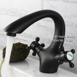 Wholesale Swan Waterfall Faucet - TB2044 Oil rubbed Bronze Dual handle Swan Spout vessel Antique black Bathroom Basin Faucet Mixer crocks hansgrohe torneira