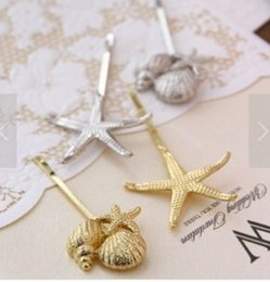 Wholesale Starfish Hairpins - Wholesale-Daughter Korean version of the new European and American retro sea shells - starfish jewelry hairpin side folder free shipping