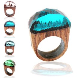 Wholesale wholesale hand jewelry - 4 Colors Secret Forest scenery Resin Ring Wood Ring Crystal Band Ring hand made Fashion Jewelry for Women Gift Drop Shipping