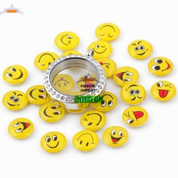 Wholesale Charm Lockets Design - 20pcs lot for living glass locket mix design Smiling face floating locket charms