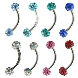 Wholesale Curved Barbell Eyebrow Rings - Shamballa Disco Eyebrow Piercing Industrial Labret Bar Body Jewelry Stainless Steel Helix Piercing Ring Lip Curved Barbells