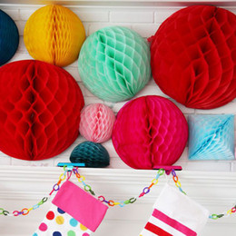 "Wholesale Pink Paper Garland - Multi 6"" 8"" 10"" Honeycomb Ball Garland DIY Birthday & Wedding Party Decorations Baby Shower Paper Pom Poms Floral Wedding Decor DIY Garland"