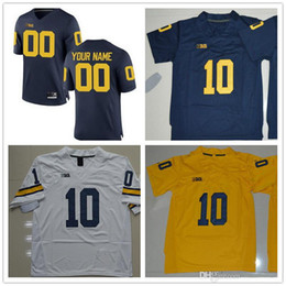 Wholesale Bush Men - Mens Michigan Wolverines College Football 9 Donovan Peoples-Jones 10 Devin Bush 13 Eddie McDoom White Yellow Navy Blue Limited Jerseys S-3XL