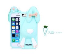 Wholesale Iphone 4s Case Rabbits - Silicone Lovely Cute Rabbit High Fashion For iphone 4 4s 5 5S Cell Phone Case Luxury